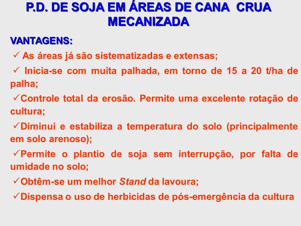 P.D. DE SOJA EM ÁREAS DE CANA CRUA MECANIZADA VANTAGENS: As áreas já são sistematizadas e extensas; Inicia-se com muita palhada, em torno de 15 a 20 t