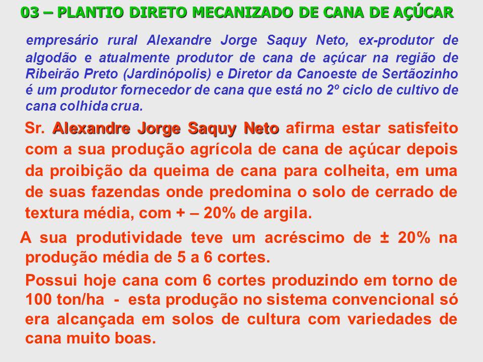 03 – PLANTIO DIRETO MECANIZADO DE CANA DE AÇÚCAR empresário rural Alexandre Jorge Saquy Neto, ex-produtor de algodão e atualmente produtor de cana de
