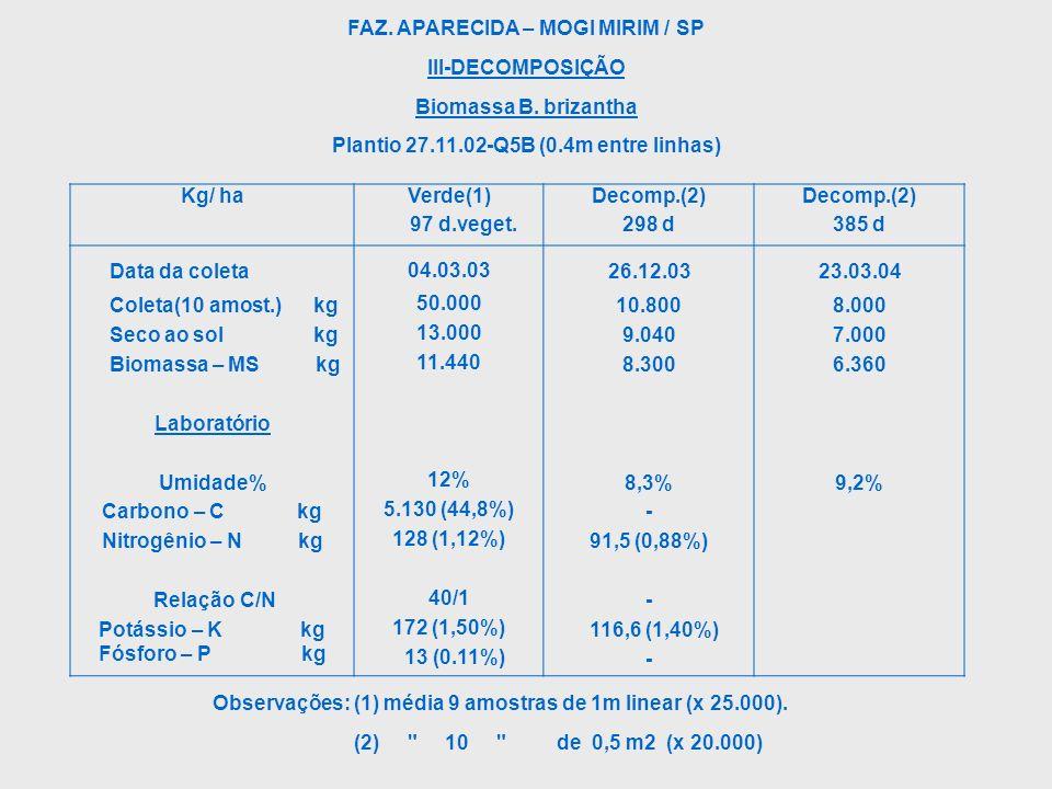 FAZ. APARECIDA – MOGI MIRIM / SP III-DECOMPOSIÇÃO Biomassa B. brizantha Plantio 27.11.02-Q5B (0.4m entre linhas) Observações: (1) média 9 amostras de