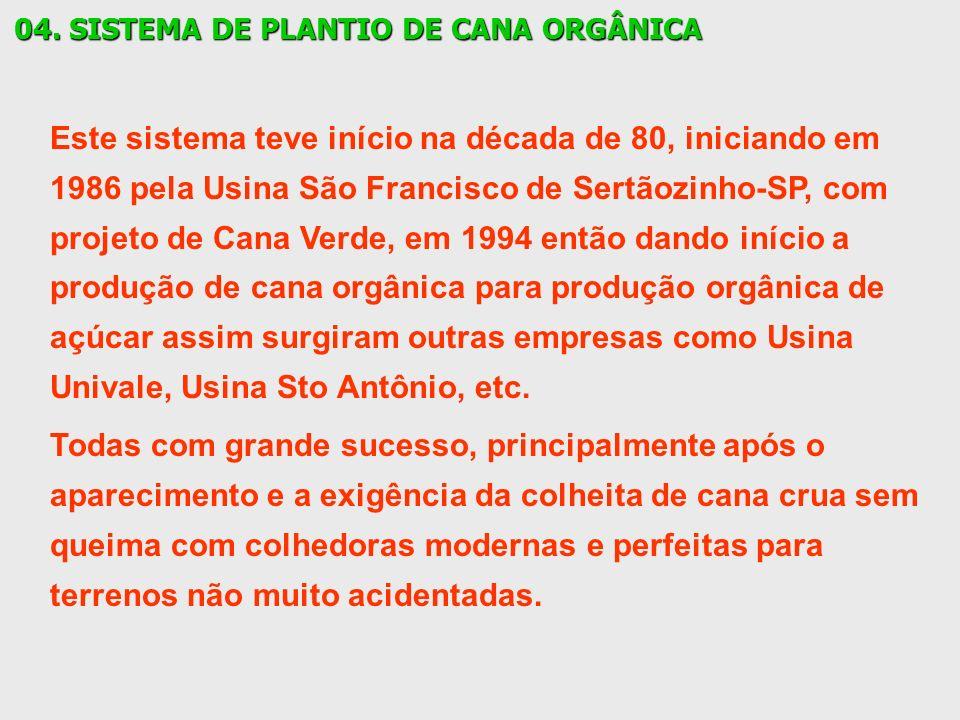 04. SISTEMA DE PLANTIO DE CANA ORGÂNICA Este sistema teve início na década de 80, iniciando em 1986 pela Usina São Francisco de Sertãozinho-SP, com pr
