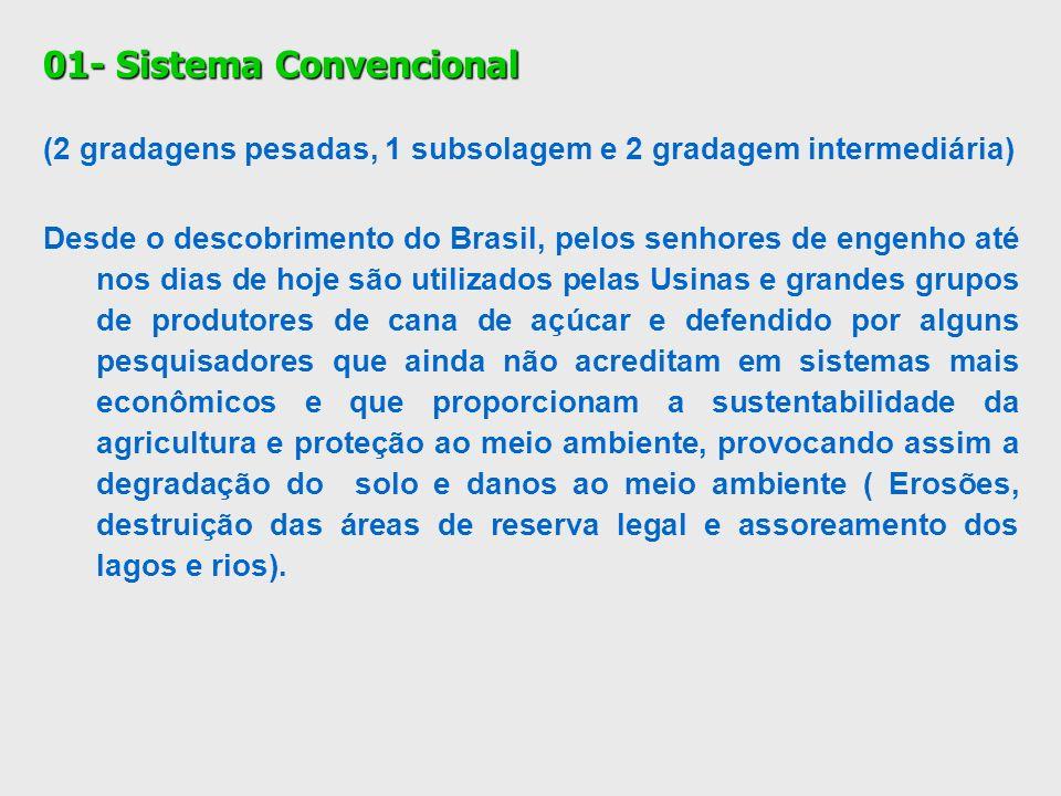 01- Sistema Convencional (2 gradagens pesadas, 1 subsolagem e 2 gradagem intermediária) Desde o descobrimento do Brasil, pelos senhores de engenho até