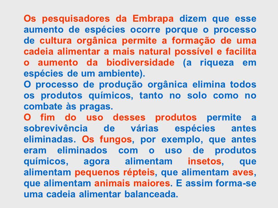 Os pesquisadores da Embrapa dizem que esse aumento de espécies ocorre porque o processo de cultura orgânica permite a formação de uma cadeia alimentar