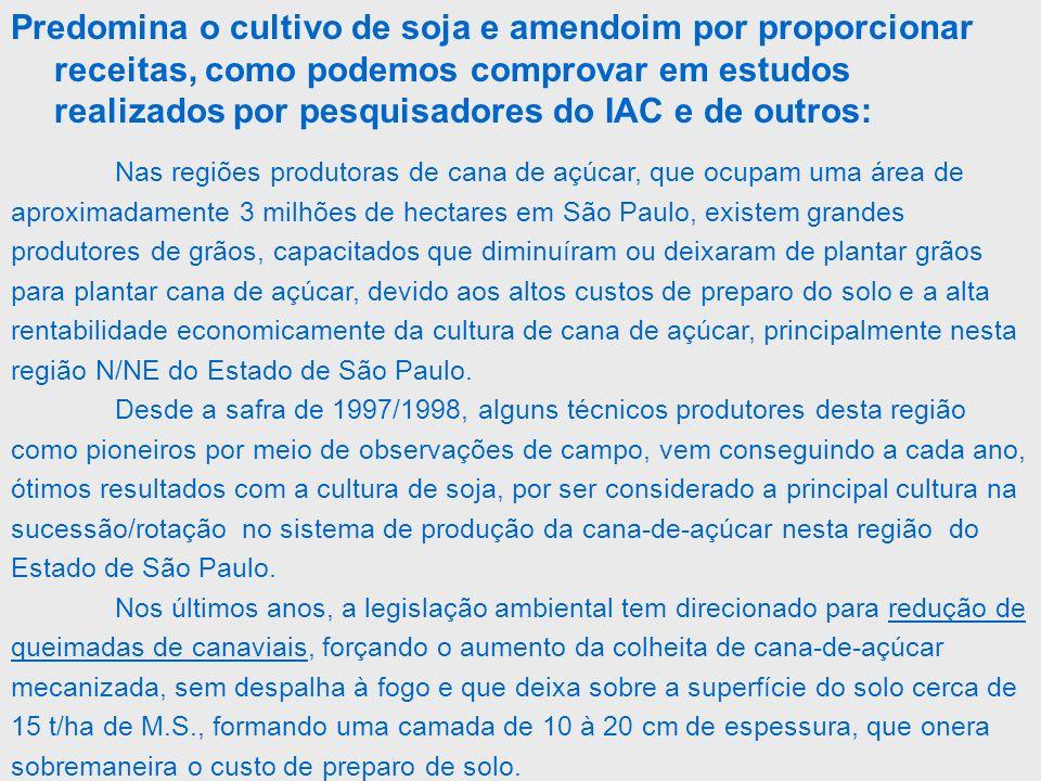 Nas regiões produtoras de cana de açúcar, que ocupam uma área de aproximadamente 3 milhões de hectares em São Paulo, existem grandes produtores de grã