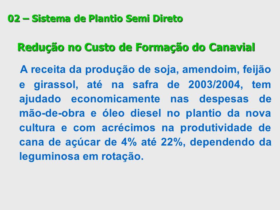 02 – Sistema de Plantio Semi Direto Redução no Custo de Formação do Canavial Redução no Custo de Formação do Canavial A receita da produção de soja, a