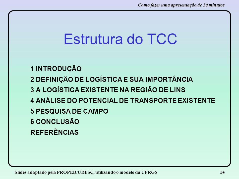 Slides adaptado pela PROPED/UDESC, utilizando o modelo da UFRGS 14 Como fazer uma apresentação de 10 minutos Estrutura do TCC 1 INTRODUÇÃO 2 DEFINIÇÃO