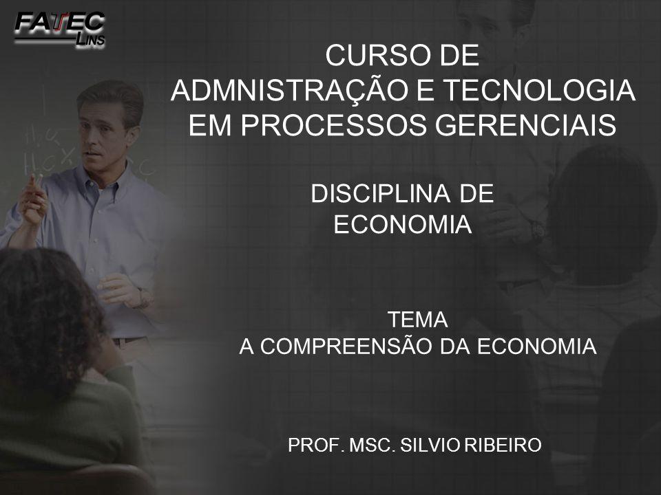 TEMA A COMPREENSÃO DA ECONOMIA PROF. MSC. SILVIO RIBEIRO CURSO DE ADMNISTRAÇÃO E TECNOLOGIA EM PROCESSOS GERENCIAIS DISCIPLINA DE ECONOMIA