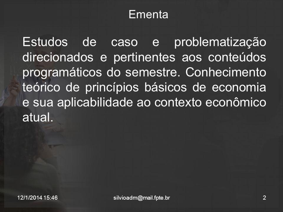 Ementa Estudos de caso e problematização direcionados e pertinentes aos conteúdos programáticos do semestre. Conhecimento teórico de princípios básico