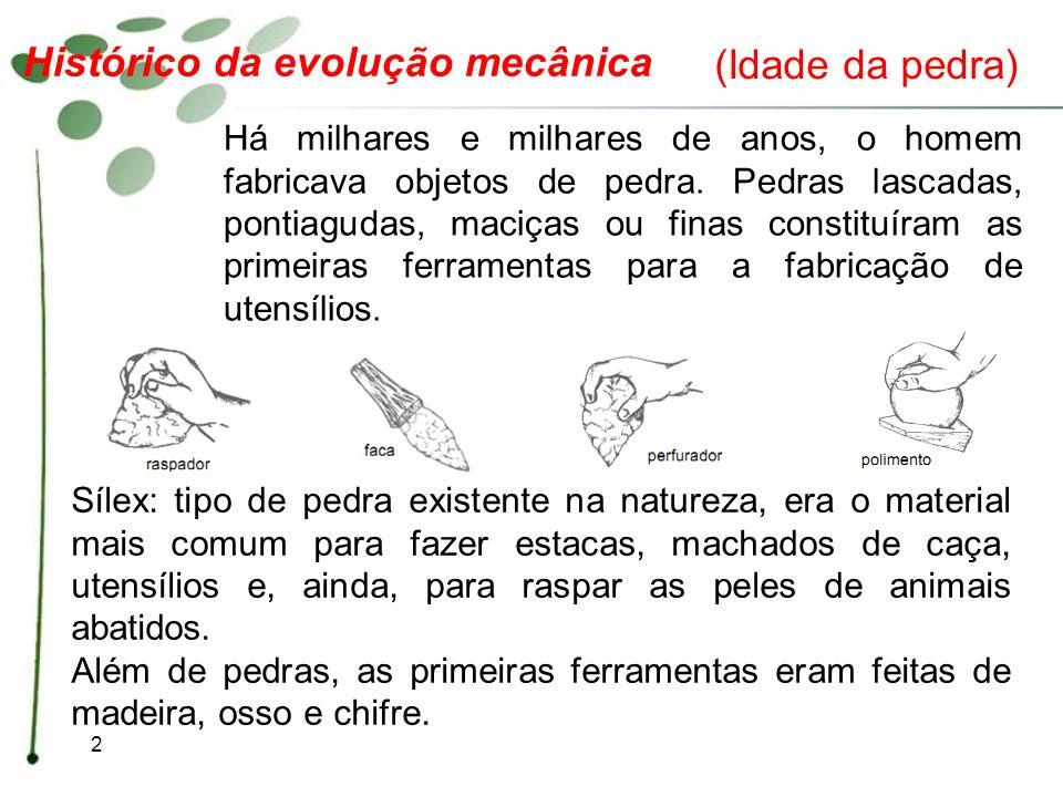2 Histórico da evolução mecânica Há milhares e milhares de anos, o homem fabricava objetos de pedra. Pedras lascadas, pontiagudas, maciças ou finas co