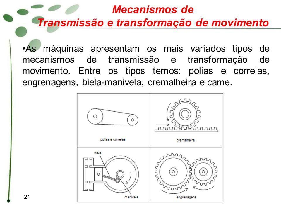 21 Mecanismos de Transmissão e transformação de movimento As máquinas apresentam os mais variados tipos de mecanismos de transmissão e transformação d