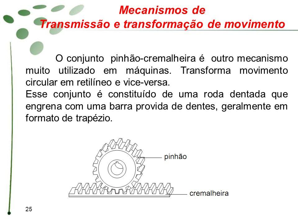 25 Mecanismos de Transmissão e transformação de movimento O conjunto pinhão-cremalheira é outro mecanismo muito utilizado em máquinas. Transforma movi