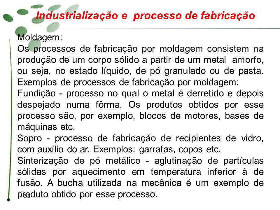 33 Industrialização e processo de fabricação Moldagem: Os processos de fabricação por moldagem consistem na produção de um corpo sólido a partir de um