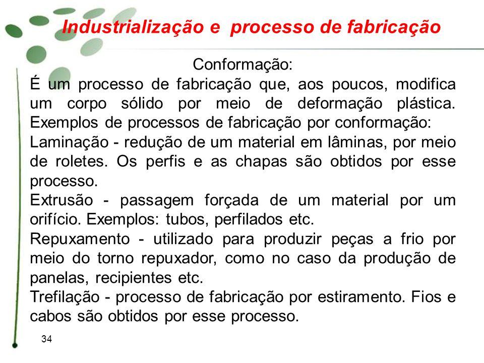 34 Industrialização e processo de fabricação Conformação: É um processo de fabricação que, aos poucos, modifica um corpo sólido por meio de deformação