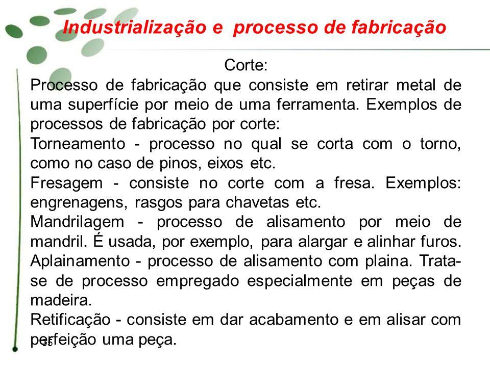 35 Industrialização e processo de fabricação Corte: Processo de fabricação que consiste em retirar metal de uma superfície por meio de uma ferramenta.
