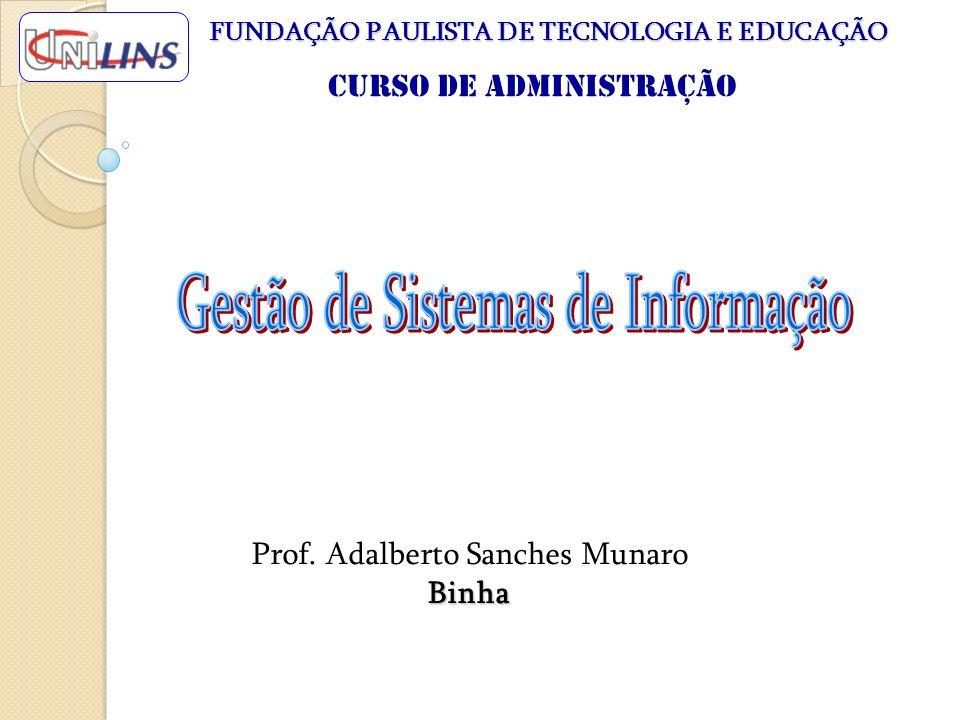 Prof. Adalberto Sanches Munaro Binha FUNDAÇÃO PAULISTA DE TECNOLOGIA E EDUCAÇÃO Curso de Administração