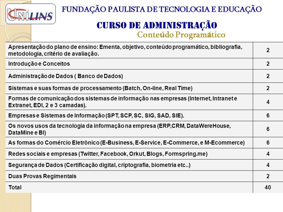 Conte ú do Program á tico Apresentação do plano de ensino: Ementa, objetivo, conteúdo programático, bibliografia, metodologia, critério de avaliação.