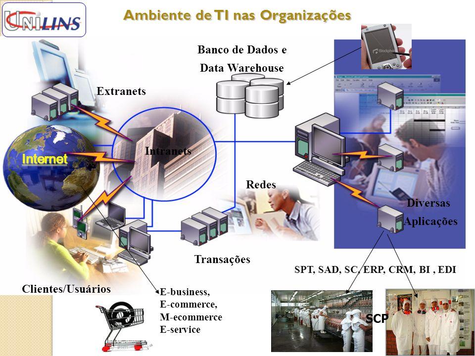 Ambiente de TI nas Organizações Ambiente de TI nas Organizações Banco de Dados e Data Warehouse Transações Redes Diversas Aplicações Clientes/Usuários