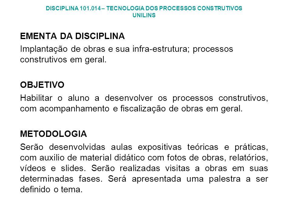 DISCIPLINA 101.014 – TECNOLOGIA DOS PROCESSOS CONSTRUTIVOS UNILINS EMENTA DA DISCIPLINA Implantação de obras e sua infra-estrutura; processos construt
