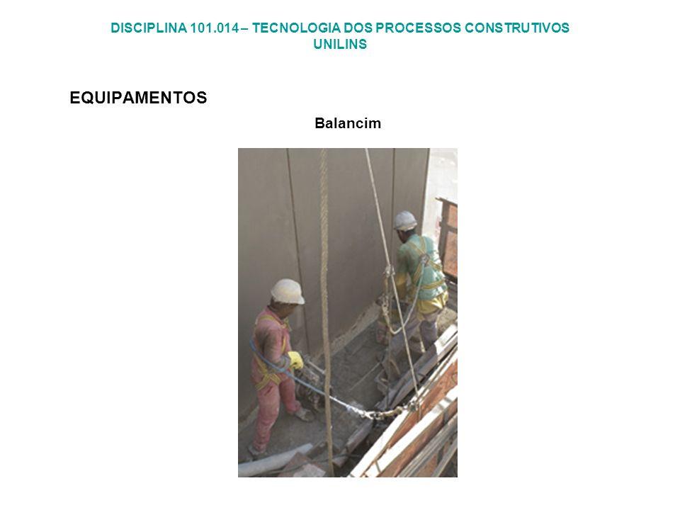 DISCIPLINA 101.014 – TECNOLOGIA DOS PROCESSOS CONSTRUTIVOS UNILINS EQUIPAMENTOS Balancim
