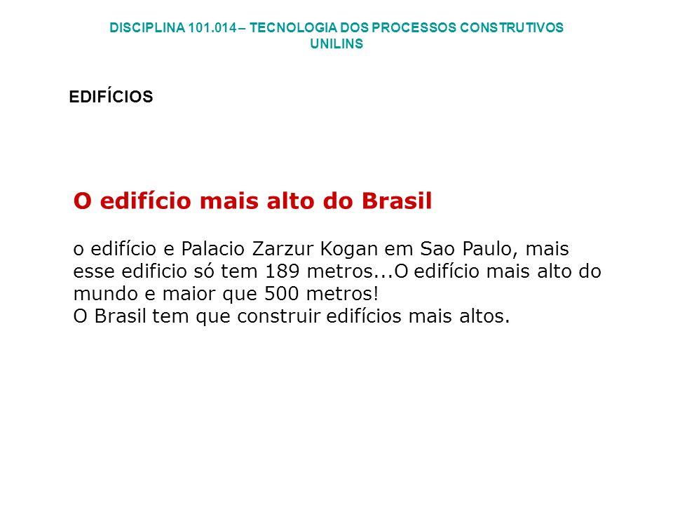 DISCIPLINA 101.014 – TECNOLOGIA DOS PROCESSOS CONSTRUTIVOS UNILINS EDIFÍCIOS O edifício mais alto do Brasil o edifício e Palacio Zarzur Kogan em Sao P