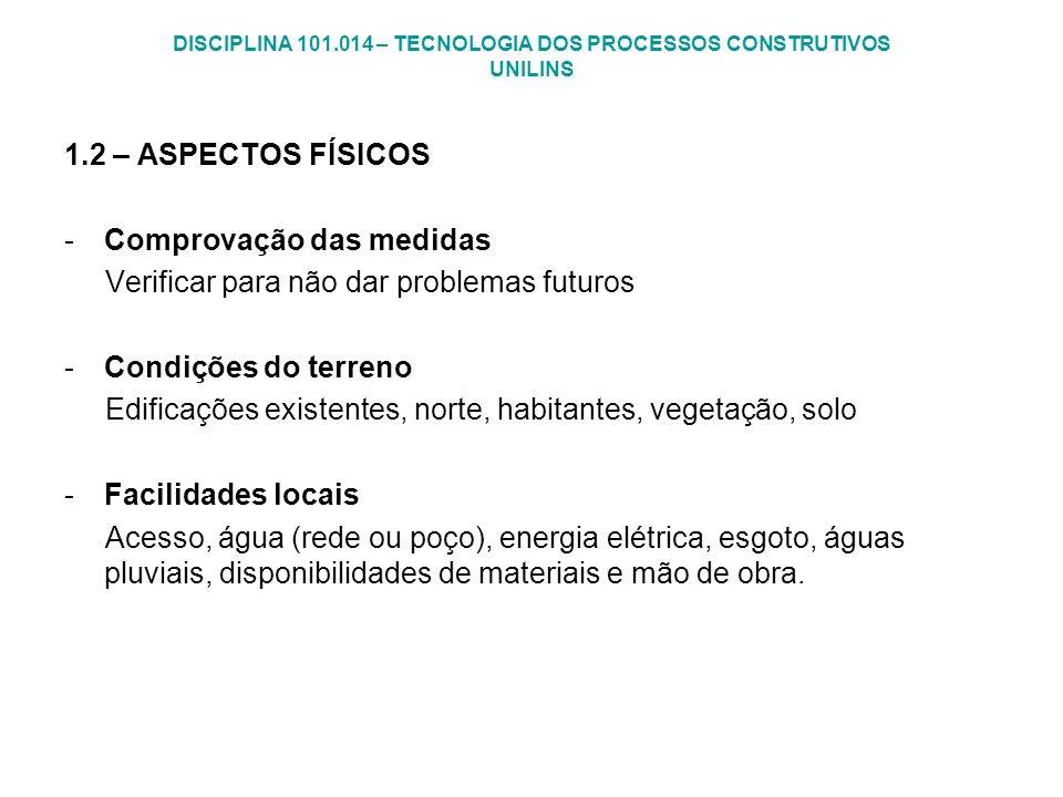 DISCIPLINA 101.014 – TECNOLOGIA DOS PROCESSOS CONSTRUTIVOS UNILINS 1.2 – ASPECTOS FÍSICOS -Comprovação das medidas Verificar para não dar problemas fu