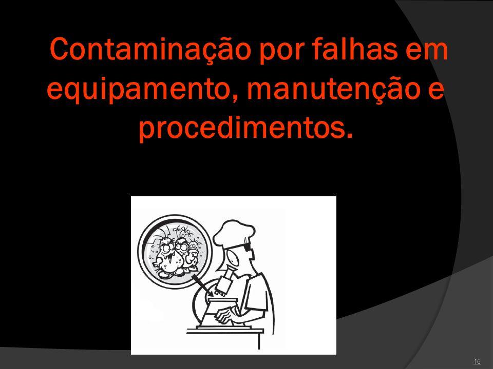 Contaminação por falhas em equipamento, manutenção e procedimentos. 16