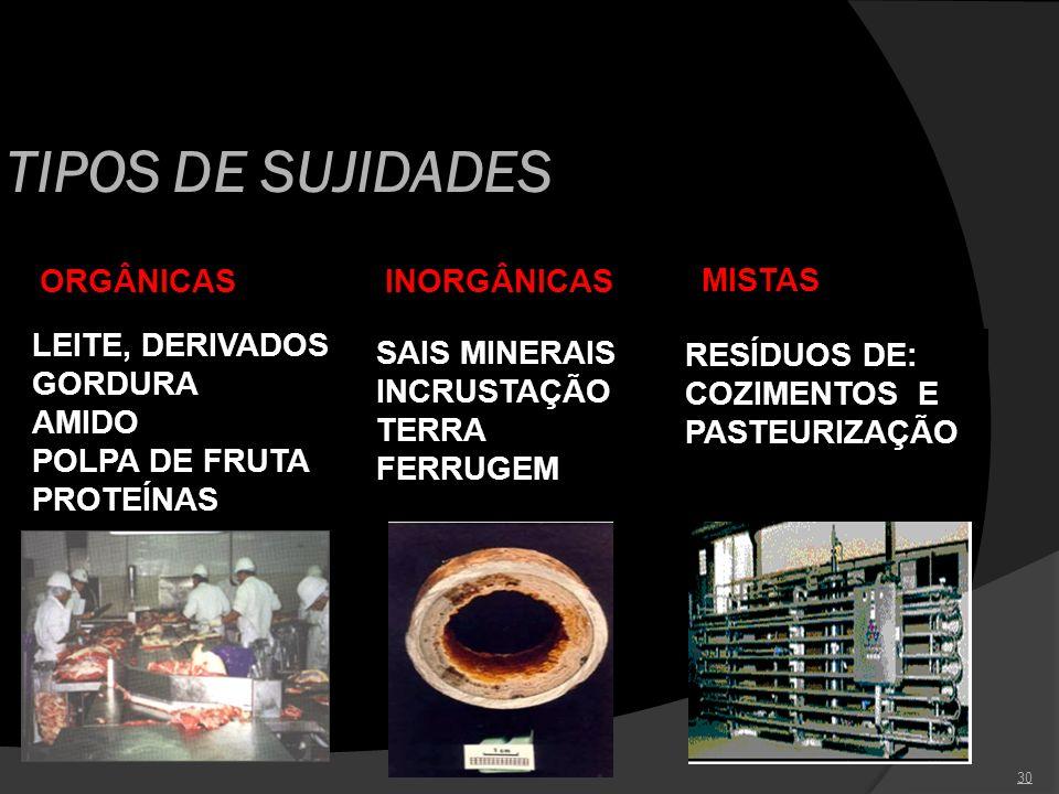 30 TIPOS DE SUJIDADES ORGÂNICAS LEITE, DERIVADOS GORDURA AMIDO POLPA DE FRUTA PROTEÍNAS INORGÂNICAS SAIS MINERAIS INCRUSTAÇÃO TERRA FERRUGEM MISTAS RE