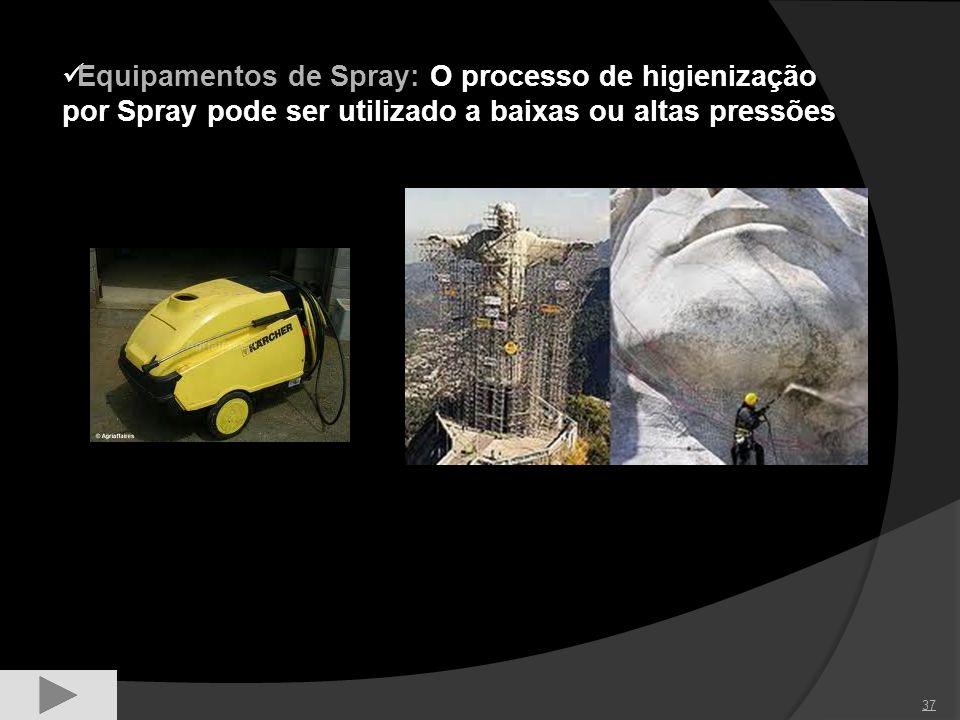 37 Equipamentos de Spray: O processo de higienização por Spray pode ser utilizado a baixas ou altas pressões