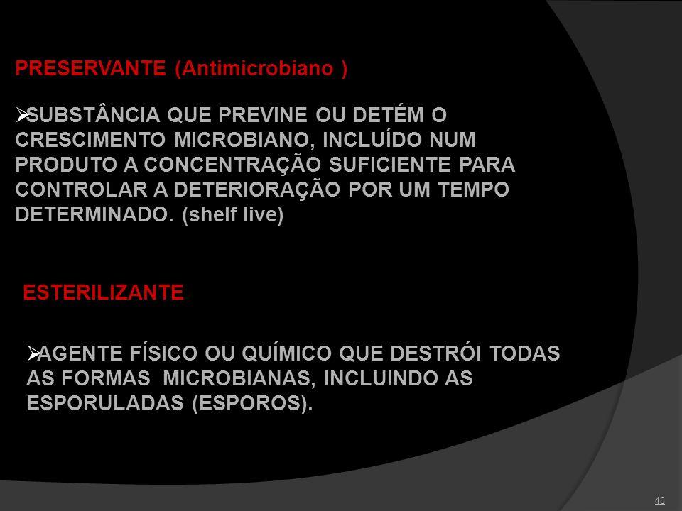 46 PRESERVANTE (Antimicrobiano ) SUBSTÂNCIA QUE PREVINE OU DETÉM O CRESCIMENTO MICROBIANO, INCLUÍDO NUM PRODUTO A CONCENTRAÇÃO SUFICIENTE PARA CONTROL