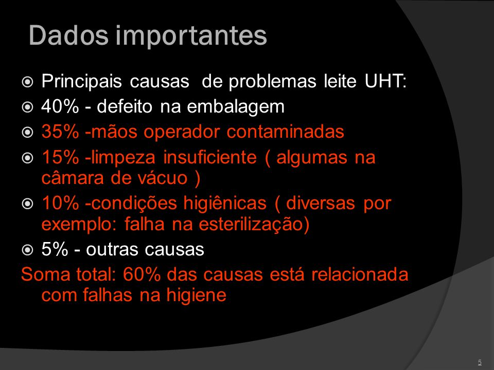 Dados importantes Principais causas de problemas leite UHT: 40% - defeito na embalagem 35% -mãos operador contaminadas 15% -limpeza insuficiente ( alg