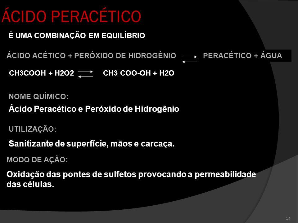 54 ÁCIDO PERACÉTICO UTILIZAÇÃO: Sanitizante de superfície, mãos e carcaça. NOME QUÍMICO: Ácido Peracético e Peróxido de Hidrogênio É UMA COMBINAÇÃO EM