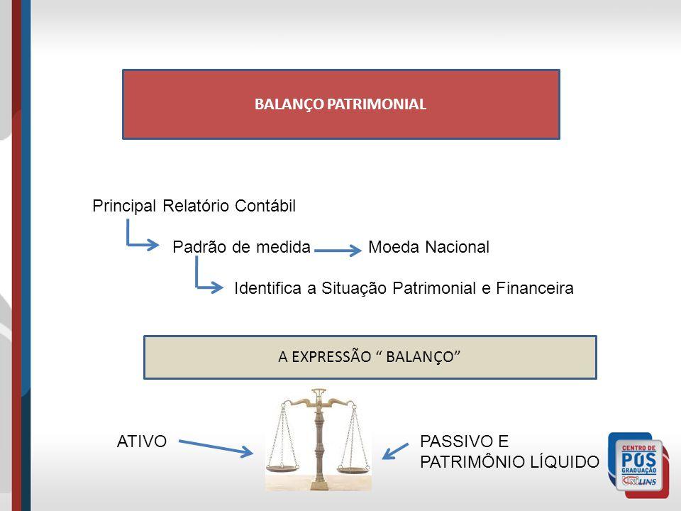 BALANÇO PATRIMONIAL Principal Relatório Contábil Padrão de medida Moeda Nacional Identifica a Situação Patrimonial e Financeira A EXPRESSÃO BALANÇO ATIVOPASSIVO E PATRIMÔNIO LÍQUIDO