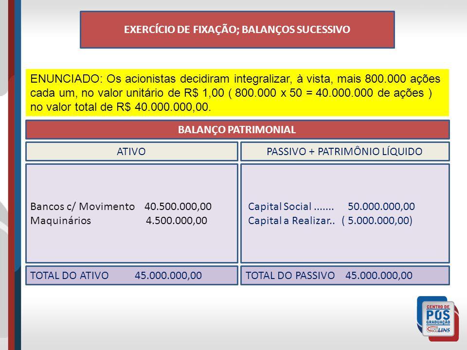 EXERCÍCIO DE FIXAÇÃO; BALANÇOS SUCESSIVO ENUNCIADO: Os acionistas decidiram integralizar, à vista, mais 800.000 ações cada um, no valor unitário de R$ 1,00 ( 800.000 x 50 = 40.000.000 de ações ) no valor total de R$ 40.000.000,00.