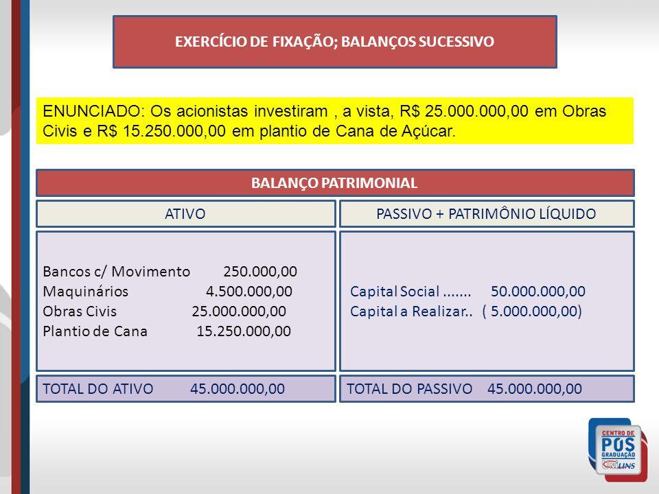 EXERCÍCIO DE FIXAÇÃO; BALANÇOS SUCESSIVO ENUNCIADO: Os acionistas investiram, a vista, R$ 25.000.000,00 em Obras Civis e R$ 15.250.000,00 em plantio de Cana de Açúcar.