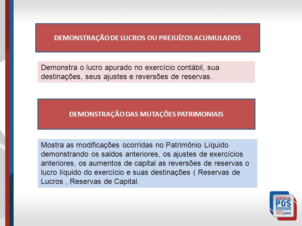 DEMONSTRAÇÃO DE LUCROS OU PREJUÍZOS ACUMULADOS Demonstra o lucro apurado no exercício contábil, sua destinações, seus ajustes e reversões de reservas.