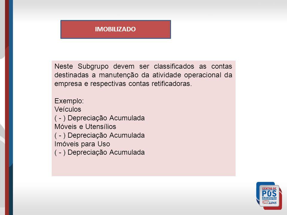 IMOBILIZADO Neste Subgrupo devem ser classificados as contas destinadas a manutenção da atividade operacional da empresa e respectivas contas retificadoras.