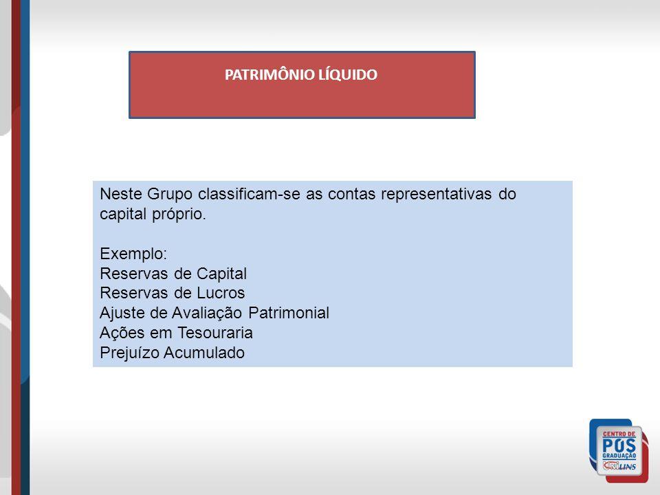 PATRIMÔNIO LÍQUIDO Neste Grupo classificam-se as contas representativas do capital próprio.