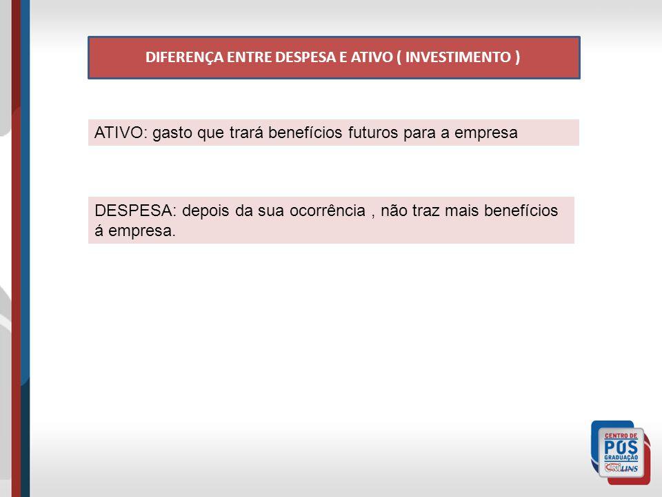 DIFERENÇA ENTRE DESPESA E ATIVO ( INVESTIMENTO ) ATIVO: gasto que trará benefícios futuros para a empresa DESPESA: depois da sua ocorrência, não traz mais benefícios á empresa.