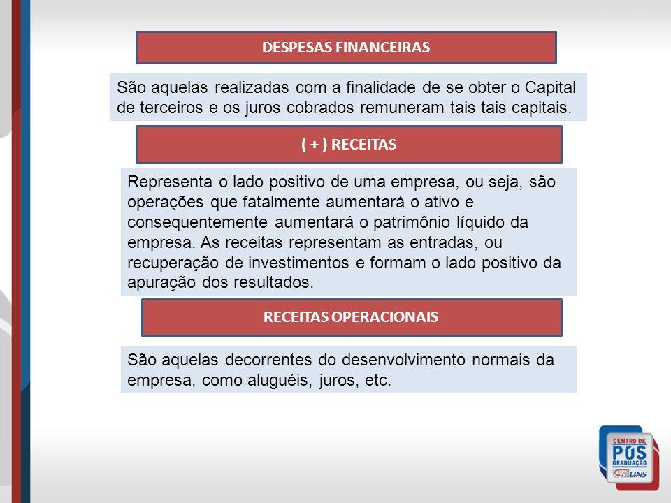 DESPESAS FINANCEIRAS São aquelas realizadas com a finalidade de se obter o Capital de terceiros e os juros cobrados remuneram tais tais capitais.