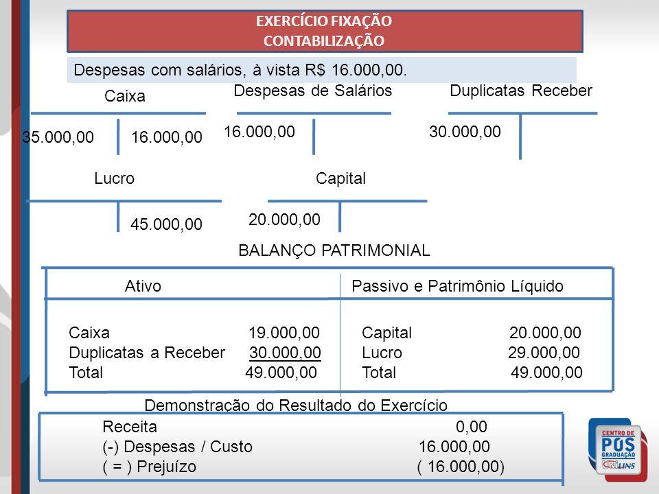EXERCÍCIO FIXAÇÃO CONTABILIZAÇÃO Despesas com salários, à vista R$ 16.000,00.