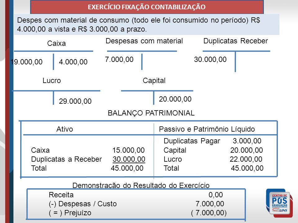 EXERCÍCIO FIXAÇÃO CONTABILIZAÇÃO Despes com material de consumo (todo ele foi consumido no período) R$ 4.000,00 a vista e R$ 3.000,00 a prazo.