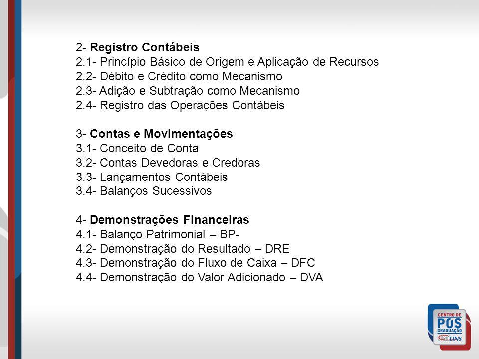 2- Registro Contábeis 2.1- Princípio Básico de Origem e Aplicação de Recursos 2.2- Débito e Crédito como Mecanismo 2.3- Adição e Subtração como Mecanismo 2.4- Registro das Operações Contábeis 3- Contas e Movimentações 3.1- Conceito de Conta 3.2- Contas Devedoras e Credoras 3.3- Lançamentos Contábeis 3.4- Balanços Sucessivos 4- Demonstrações Financeiras 4.1- Balanço Patrimonial – BP- 4.2- Demonstração do Resultado – DRE 4.3- Demonstração do Fluxo de Caixa – DFC 4.4- Demonstração do Valor Adicionado – DVA