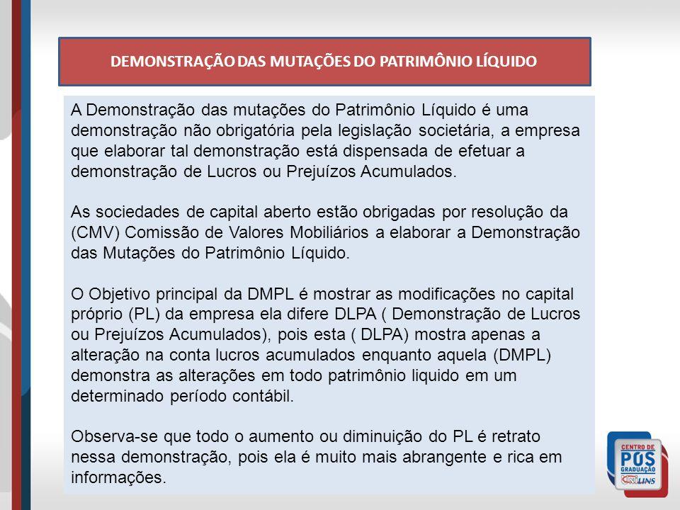 A Demonstração das mutações do Patrimônio Líquido é uma demonstração não obrigatória pela legislação societária, a empresa que elaborar tal demonstração está dispensada de efetuar a demonstração de Lucros ou Prejuízos Acumulados.