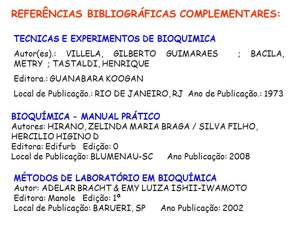 REFERÊNCIAS BIBLIOGRÁFICAS COMPLEMENTARES: BIOQUÍMICA - MANUAL PRÁTICO Autores: HIRANO, ZELINDA MARIA BRAGA / SILVA FILHO, HERCILIO HIGINO D Editora: