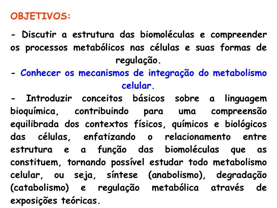 OBJETIVOS: - Discutir a estrutura das biomoléculas e compreender os processos metabólicos nas células e suas formas de regulação. - Conhecer os mecani