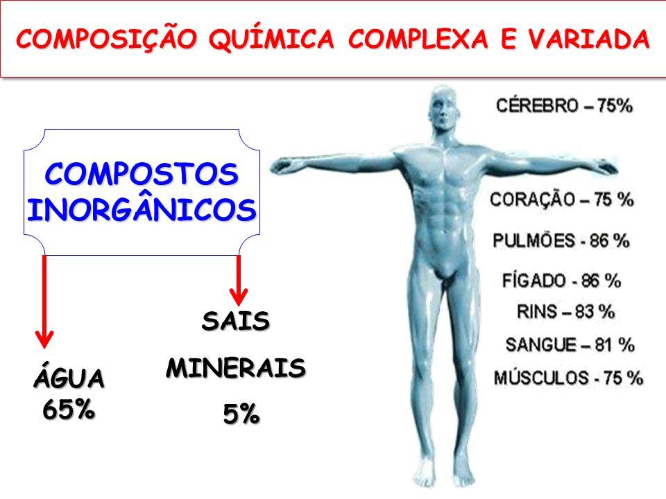 COMPOSTOSINORGÂNICOS ÁGUA 65% SAISMINERAIS 5% 5% COMPOSIÇÃO QUÍMICA COMPLEXA E VARIADA