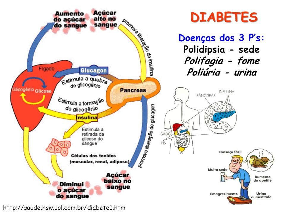DIABETES Doenças dos 3 Ps: Polidipsia - sede Polifagia - fome Poliúria - urina http://saude.hsw.uol.com.br/diabete1.htm