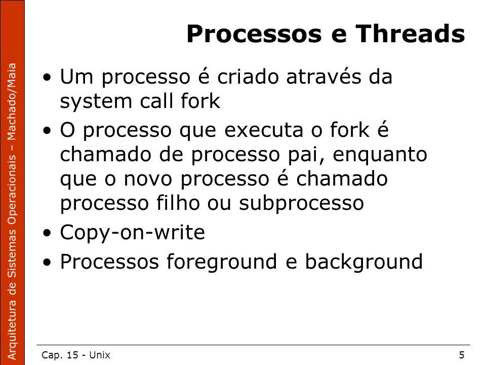 Arquitetura de Sistemas Operacionais – Machado/Maia Cap. 15 - Unix5 Processos e Threads Um processo é criado através da system call fork O processo qu