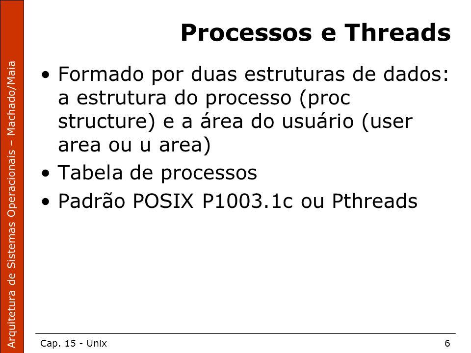 Arquitetura de Sistemas Operacionais – Machado/Maia Cap. 15 - Unix6 Processos e Threads Formado por duas estruturas de dados: a estrutura do processo