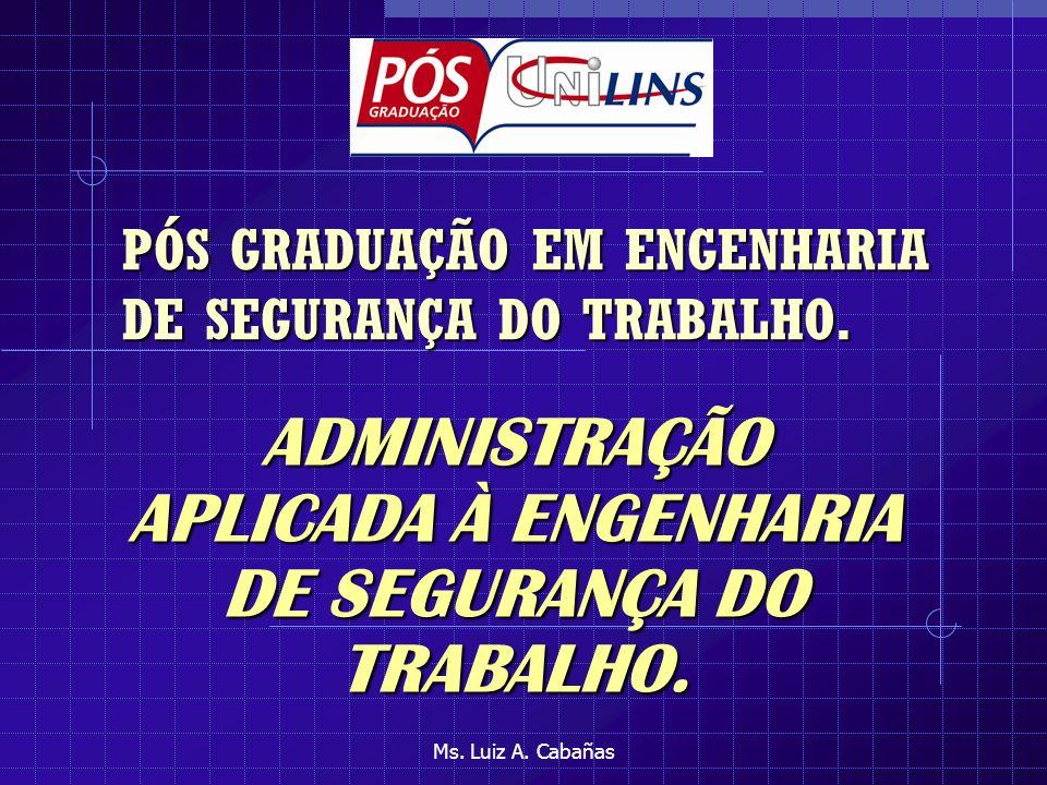Ms.Luiz A. Cabañas PÓS GRADUAÇÃO EM ENGENHARIA DE SEGURANÇA DO TRABALHO.