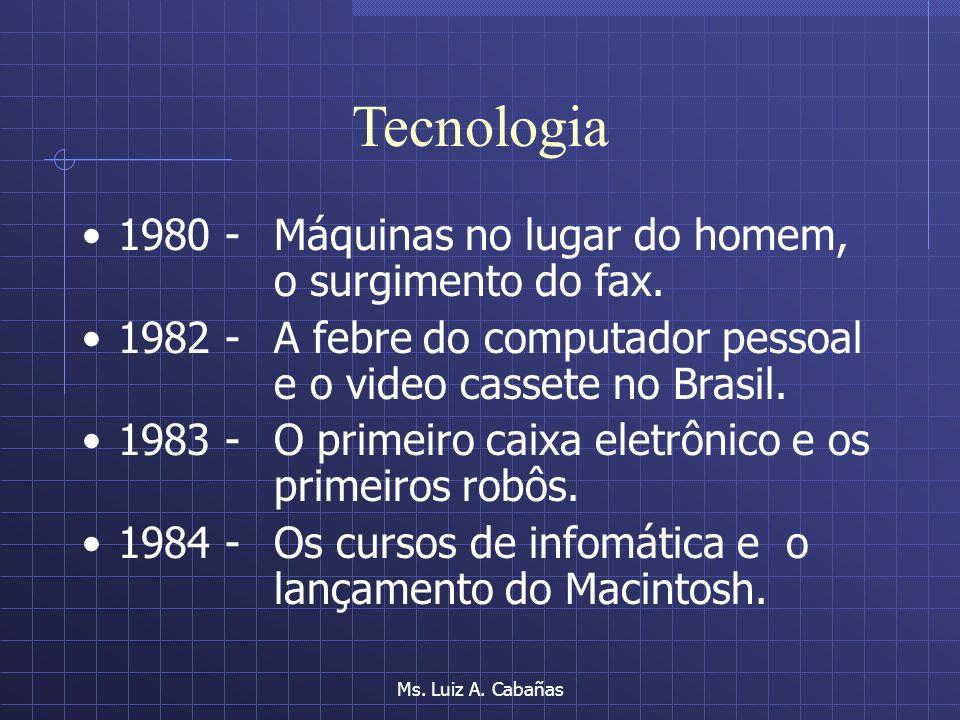Ms. Luiz A. Cabañas Tecnologia 1970 - A máquina de escrever elétrica, apenas 400 computadores de grande porte no país. 1970 - O governo militar restri